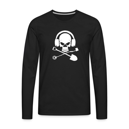 Silver Pirate Logo White LARGE TRANS - Men's Premium Long Sleeve T-Shirt