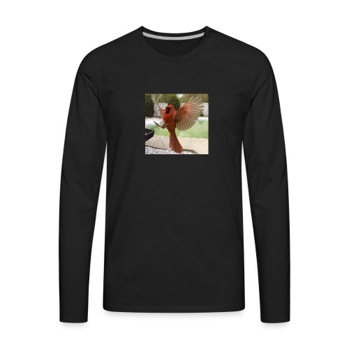 Northern Cardinal in Flight - Men's Premium Long Sleeve T-Shirt