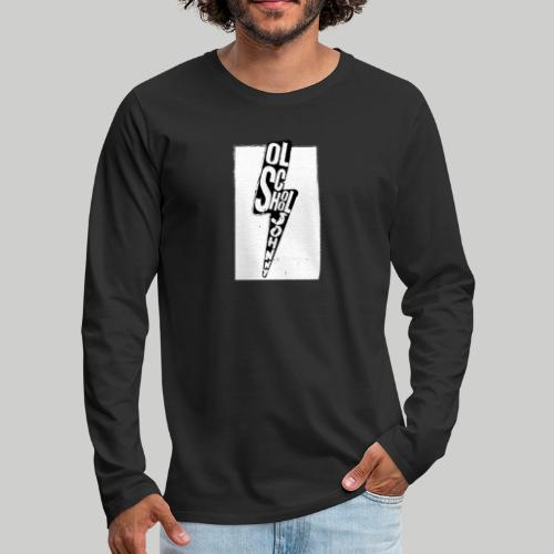 Ol' School Johnny Black and White Lightning Bolt - Men's Premium Long Sleeve T-Shirt