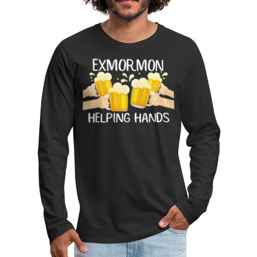 Exmormon Helping Hands white typo - Men's Premium Long Sleeve T-Shirt