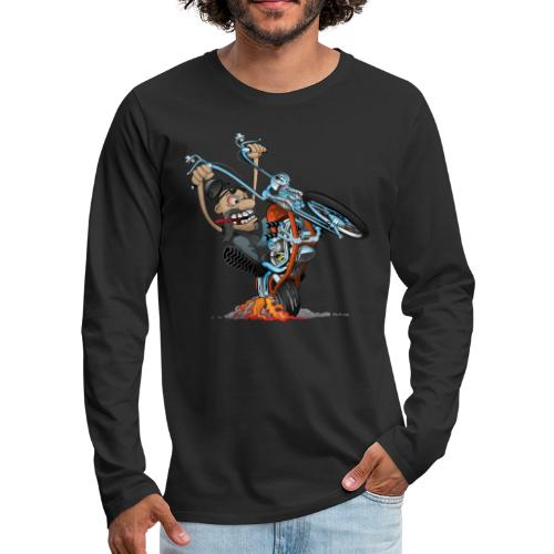 Funny biker riding a chopper cartoon - Men's Premium Long Sleeve T-Shirt