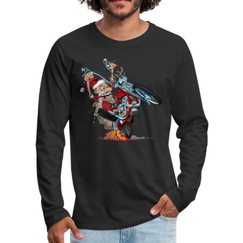 Biker Santa on a chopper cartoon illustration - Men's Premium Long Sleeve T-Shirt