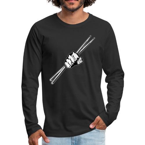 Drum Sticks Fist Punch - Men's Premium Long Sleeve T-Shirt