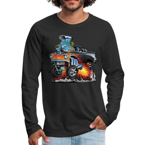 Classic hot rod 57 gasser dragster car cartoon - Men's Premium Long Sleeve T-Shirt