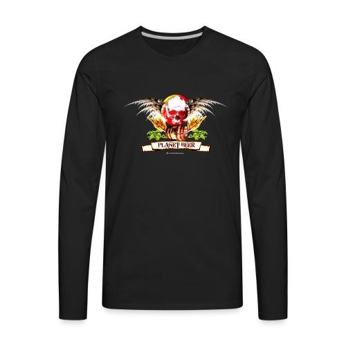 Planet Beer Skull & Keg Gothic Color - Men's Premium Long Sleeve T-Shirt