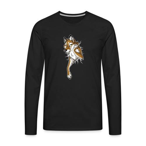 STUCK Wolf Caramel (double-sided) - Men's Premium Long Sleeve T-Shirt