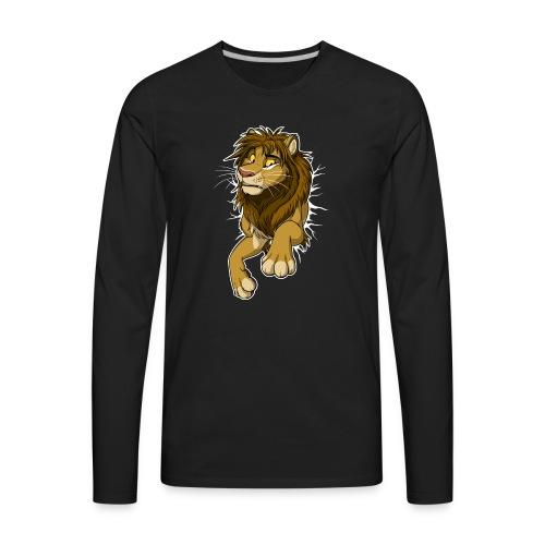 STUCK Lion (white cracks) - Men's Premium Long Sleeve T-Shirt