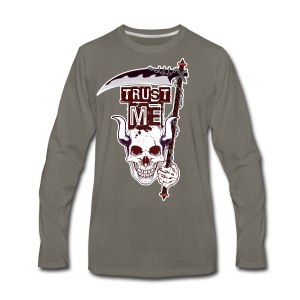 Trust Me - Funny Skull with Scythe and Chain - Men's Premium Long Sleeve T-Shirt
