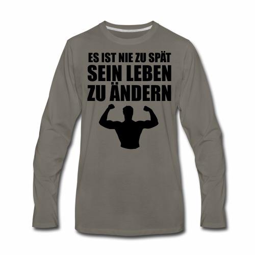 es ist nie zu spaet black - Men's Premium Long Sleeve T-Shirt
