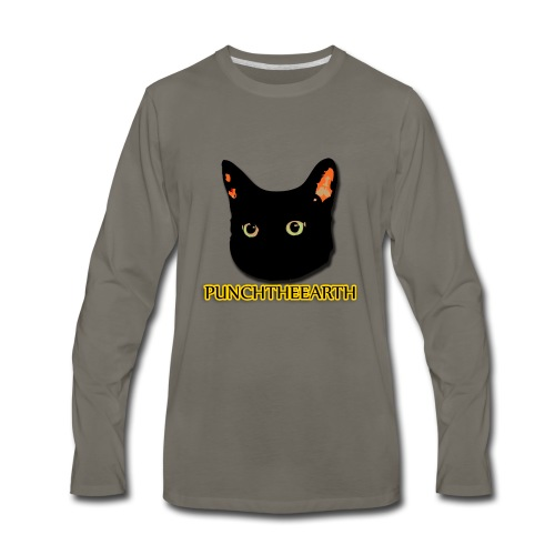 PunchTheEarth Cat with Text - Men's Premium Long Sleeve T-Shirt