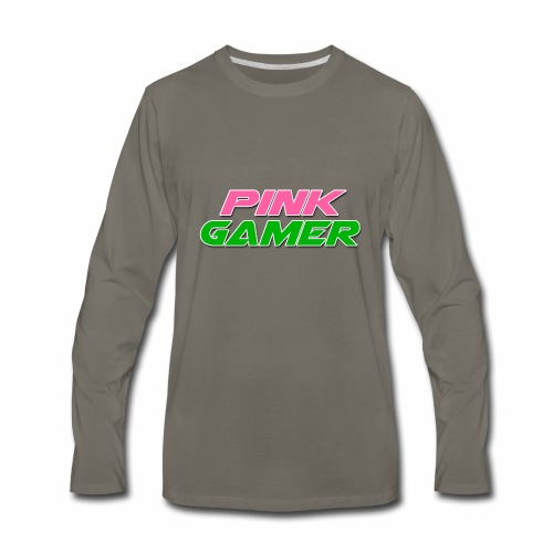 PINK Gamer Logo: Light Outline - Men's Premium Long Sleeve T-Shirt