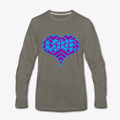 CHEVRON LOVE HEART - Men's Premium Long Sleeve T-Shirt