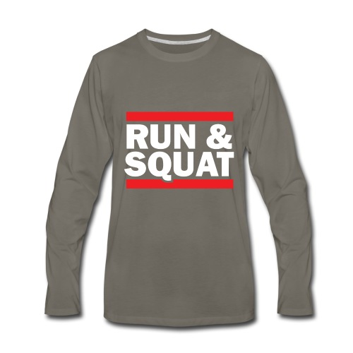 Run Squat White on Dark by Epic Greetings - Men's Premium Long Sleeve T-Shirt