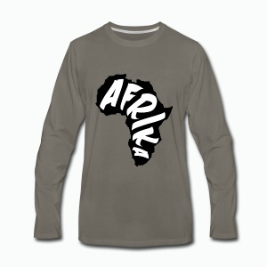 Black Afrika Continent with white word - Men's Premium Long Sleeve T-Shirt