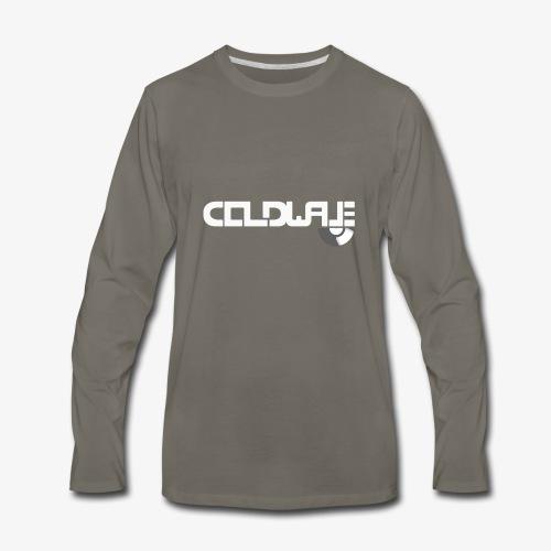 Coldwave Logo with (half) Vinyl - White - Men's Premium Long Sleeve T-Shirt