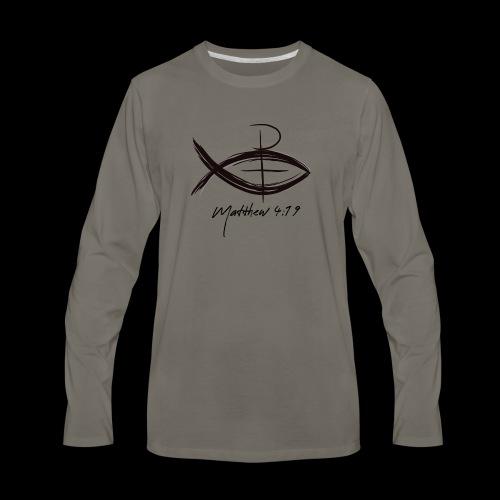 Matthew 4:19 Fishers of Men Jesus Fish - Men's Premium Long Sleeve T-Shirt
