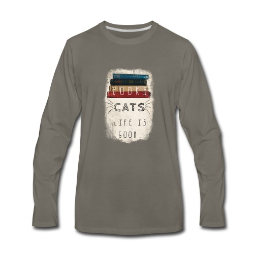 Books and cats design - Men's Premium Long Sleeve T-Shirt