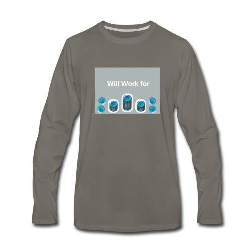 Will_work_for_buttons - Men's Premium Long Sleeve T-Shirt