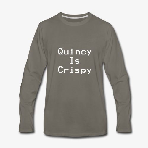 QuincyIsCrispy Text Logo (White) - Men's Premium Long Sleeve T-Shirt