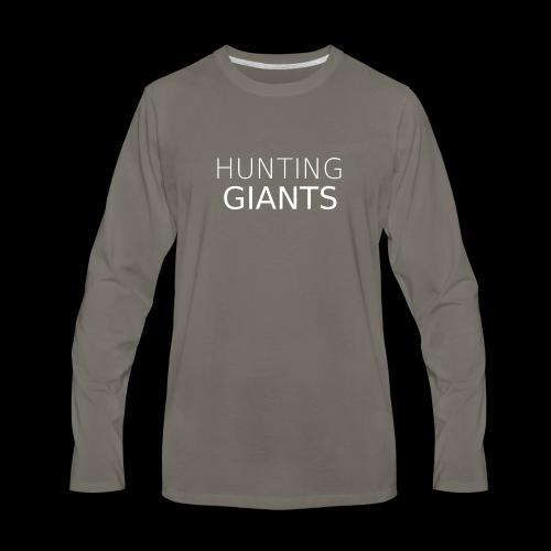 Hunting Giants Logo in White - Men's Premium Long Sleeve T-Shirt