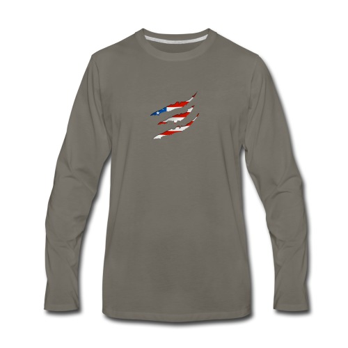 3D American Flag Claw Marks T-shirt for Men - Men's Premium Long Sleeve T-Shirt