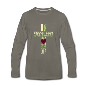 love is shaped like this - Men's Premium Long Sleeve T-Shirt