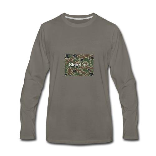 SkyeLine Green Camo and White Box Logo - Men's Premium Long Sleeve T-Shirt