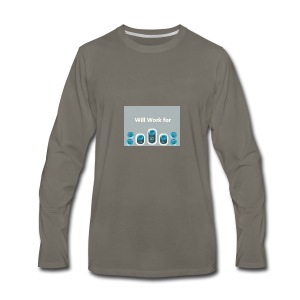 Will_work_for_buttons - Men's Premium Long Sleeve T-Shirt