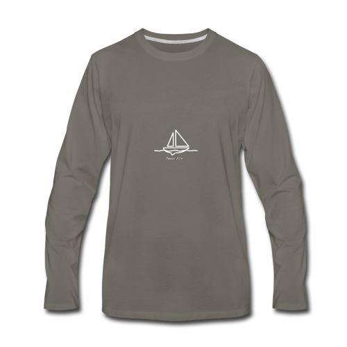 Sailboat logo, Proverbs 3:5-6 white 1 - Men's Premium Long Sleeve T-Shirt