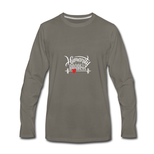 Humanity Barbell White w/Red Heart - Men's Premium Long Sleeve T-Shirt