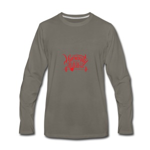 Humanity Barbell Red with Heart - Men's Premium Long Sleeve T-Shirt