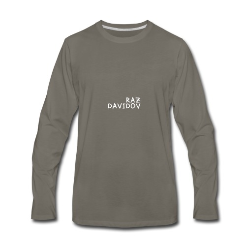 Raz Davidov Text - Men's Premium Long Sleeve T-Shirt