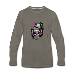 SKULLS WITH BUTTERFLIES AND DAISIES - Men's Premium Long Sleeve T-Shirt