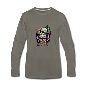 BUTTERFLY SKULLS WITH PLUMERIA - Men's Premium Long Sleeve T-Shirt