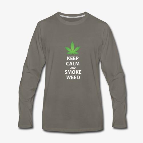 keep calm smoke weed white text - Men's Premium Long Sleeve T-Shirt