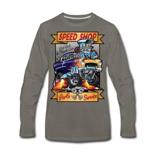 Speed Shop Hot Rod Muscle Car Cartoon Illustration - Men's Premium Long Sleeve T-Shirt