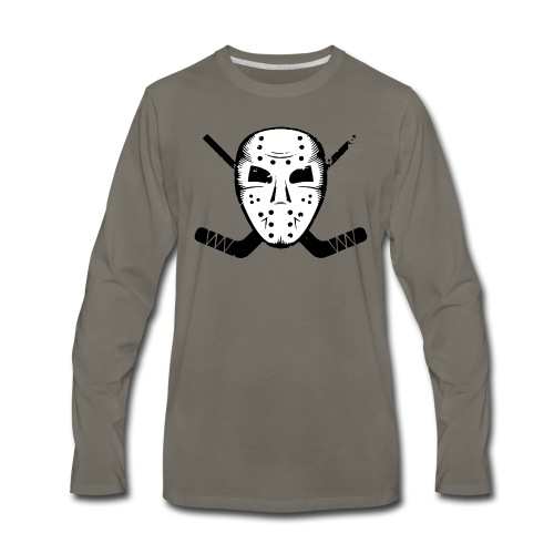 HOCKEY MASK STICKS ICE SKATE WINTER SPORTS FAN - Men's Premium Long Sleeve T-Shirt