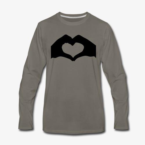 Silhouette Heart Hands   Mousepad - Men's Premium Long Sleeve T-Shirt