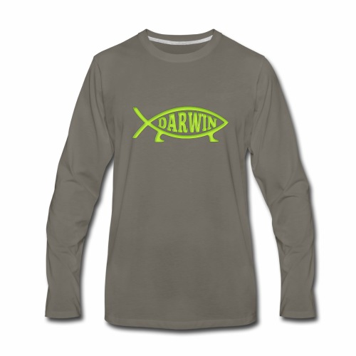 Darwin Fish - Green - Men's Premium Long Sleeve T-Shirt