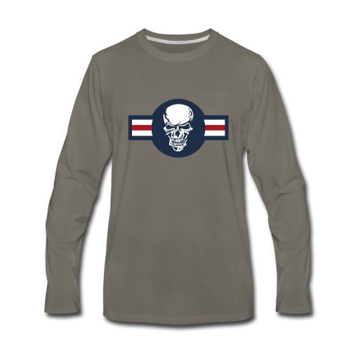 Military aircraft roundel emblem with skull - Men's Premium Long Sleeve T-Shirt
