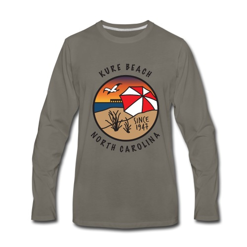 Kure Beach Sunrise-Black Lettering-Front Only - Men's Premium Long Sleeve T-Shirt