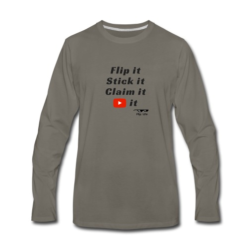 Flip it t-shirt black letting youtube logo - Men's Premium Long Sleeve T-Shirt