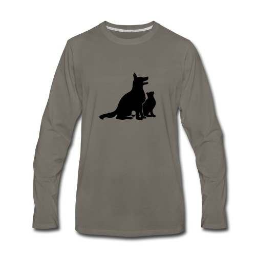 Dog and Cat Best Friends - Men's Premium Long Sleeve T-Shirt