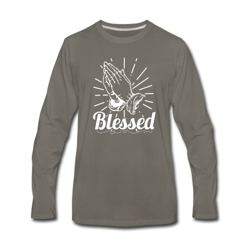 Blessed (White Letters) - Men's Premium Long Sleeve T-Shirt