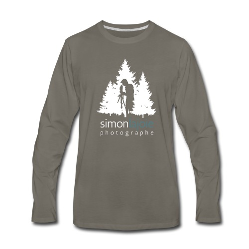 Logo Simon Lajoie Photographer White - Men's Premium Long Sleeve T-Shirt