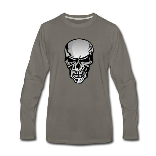 Chrome Skull Illustration - Men's Premium Long Sleeve T-Shirt