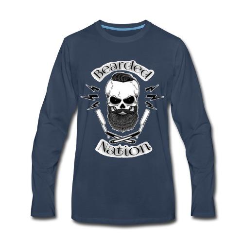 Bearded Nation Logo 1 - Men's Premium Long Sleeve T-Shirt
