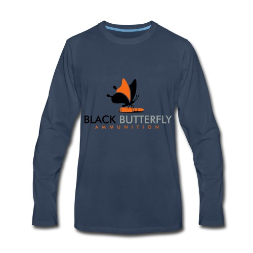Black Butterfly Floating Logo - Men's Premium Long Sleeve T-Shirt