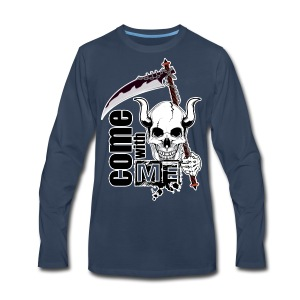 Come with me - Funny Skull with Scythe - Men's Premium Long Sleeve T-Shirt