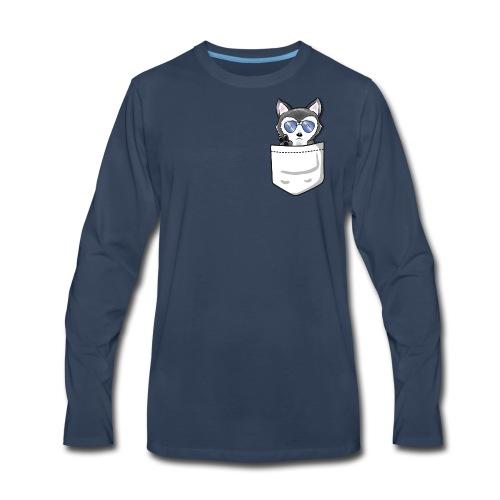 HuskenRaider pocket husky - White Pocket - Men's Premium Long Sleeve T-Shirt